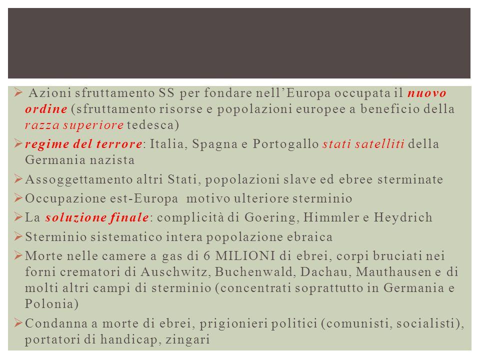 Azioni sfruttamento SS per fondare nell'Europa occupata il nuovo ordine (sfruttamento risorse e popolazioni europee a beneficio della razza superiore tedesca)