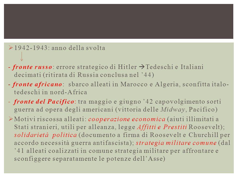 1942-1943: anno della svolta - fronte russo: errore strategico di Hitler Tedeschi e Italiani decimati (ritirata di Russia conclusa nel '44)
