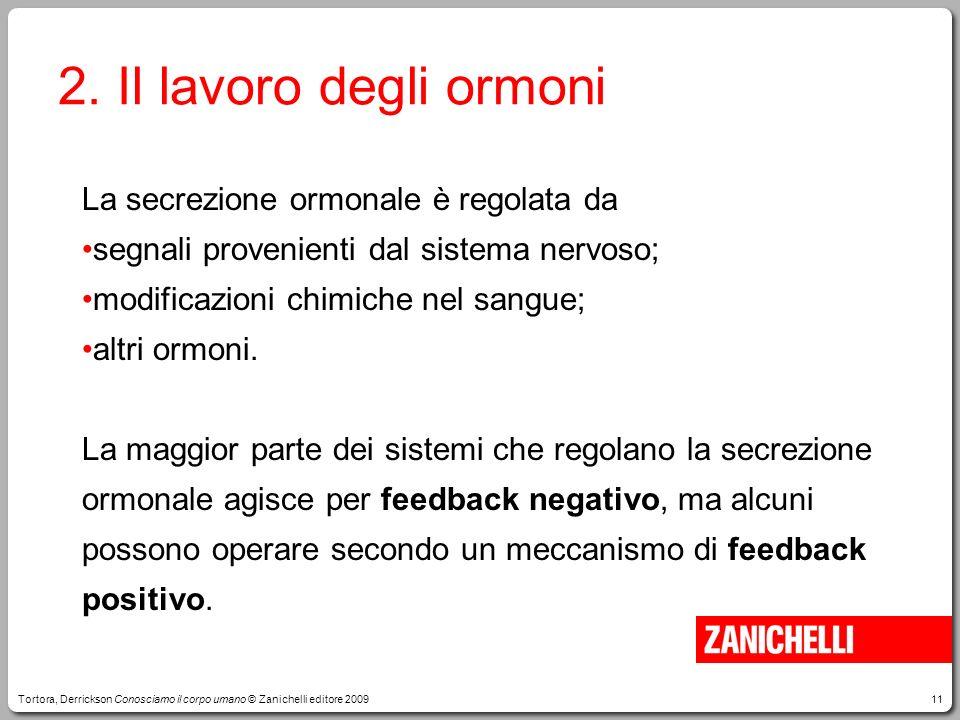 2. Il lavoro degli ormoni La secrezione ormonale è regolata da