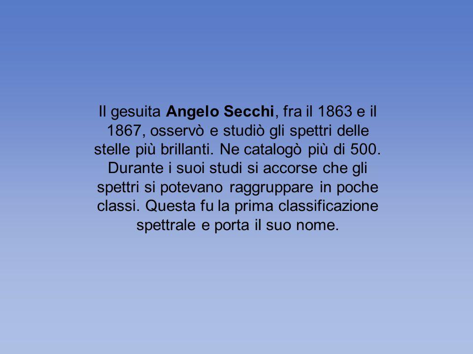 Il gesuita Angelo Secchi, fra il 1863 e il 1867, osservò e studiò gli spettri delle stelle più brillanti.