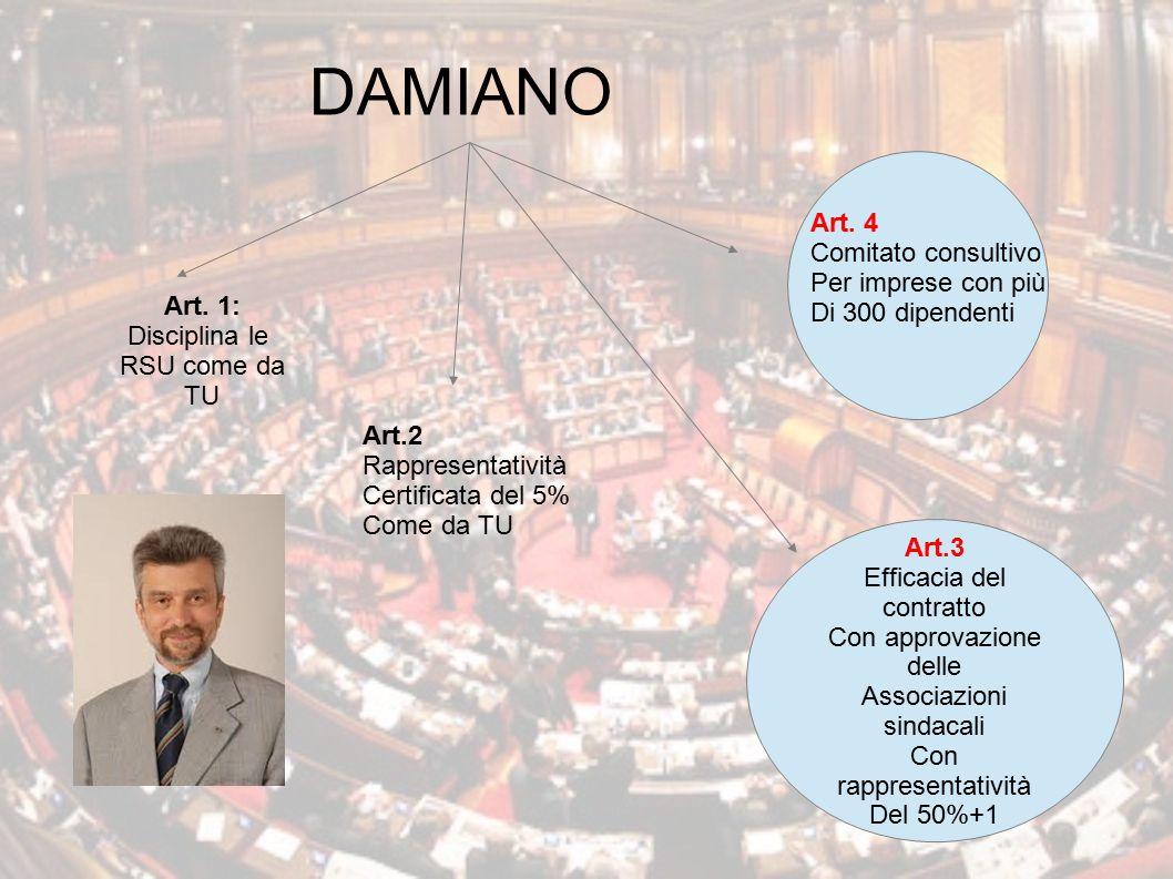 DAMIANO Art. 4 Comitato consultivo Per imprese con più