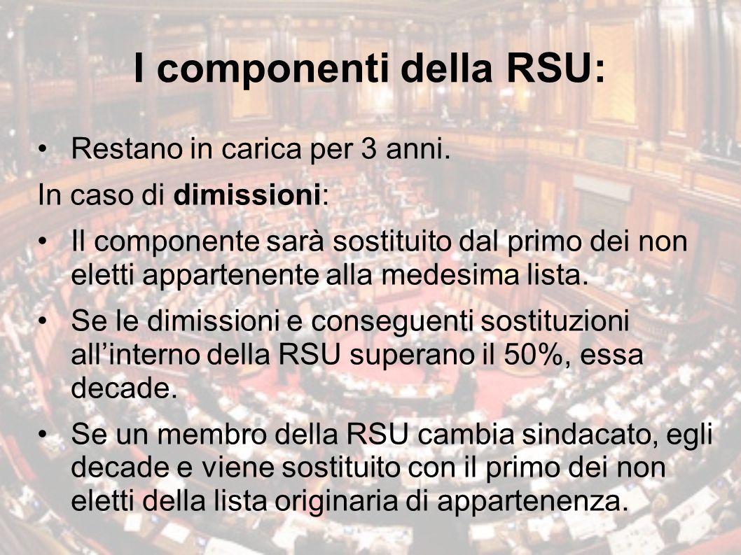 I componenti della RSU:
