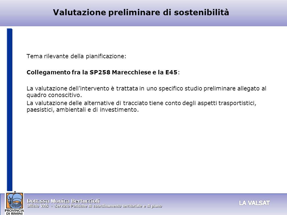 Valutazione preliminare di sostenibilità