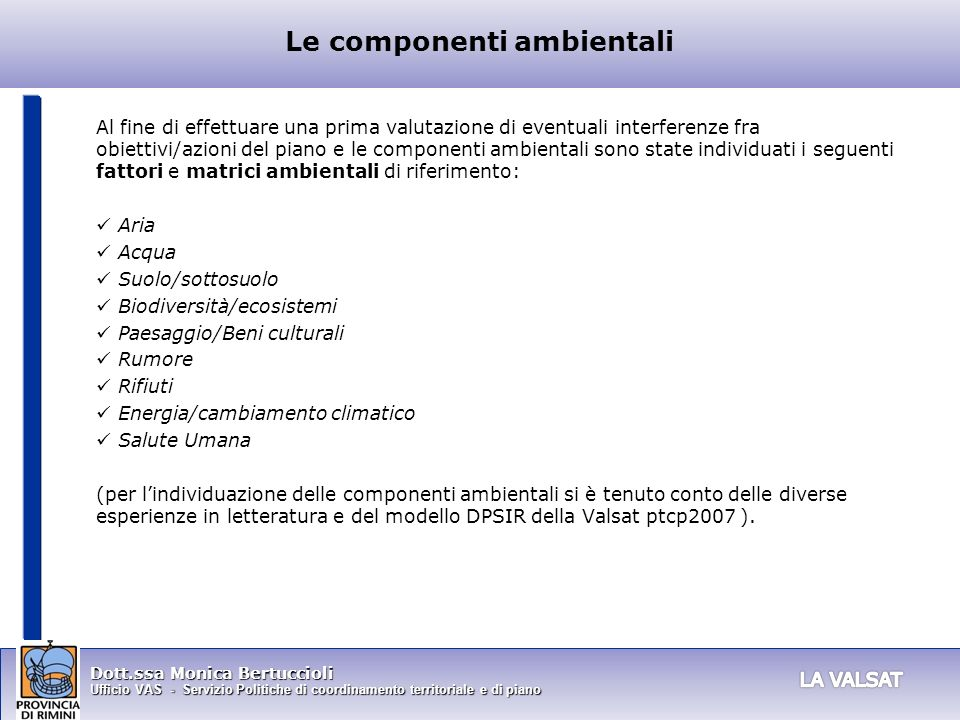 Le componenti ambientali
