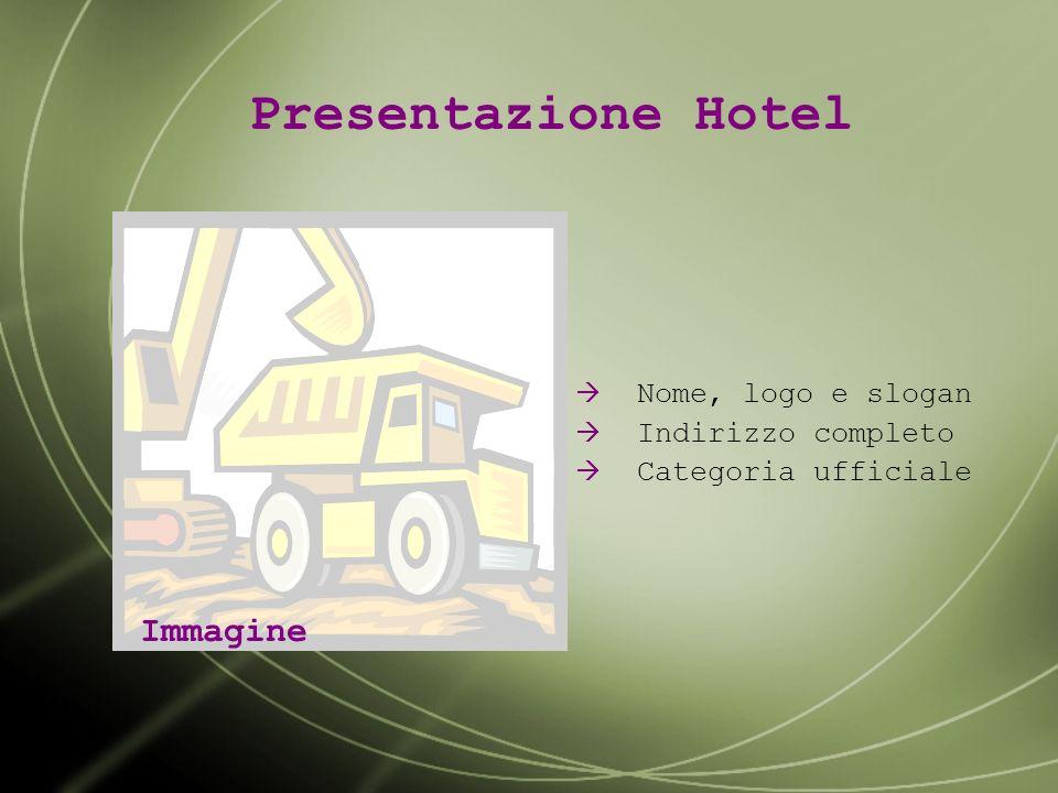 Presentazione Hotel Immagine Nome, logo e slogan Indirizzo completo