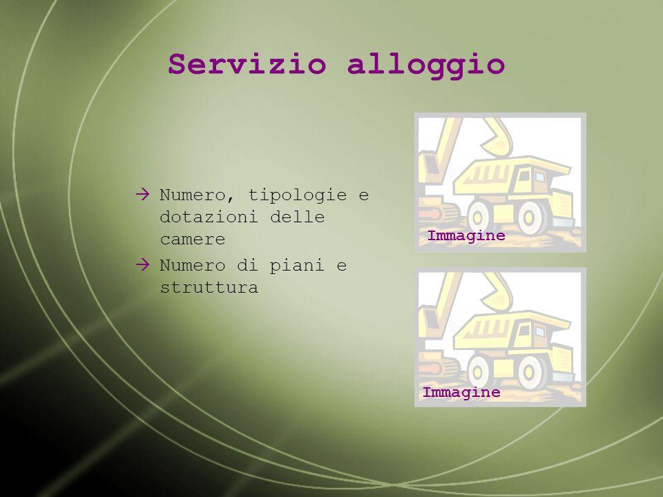 Servizio alloggio Numero, tipologie e dotazioni delle camere