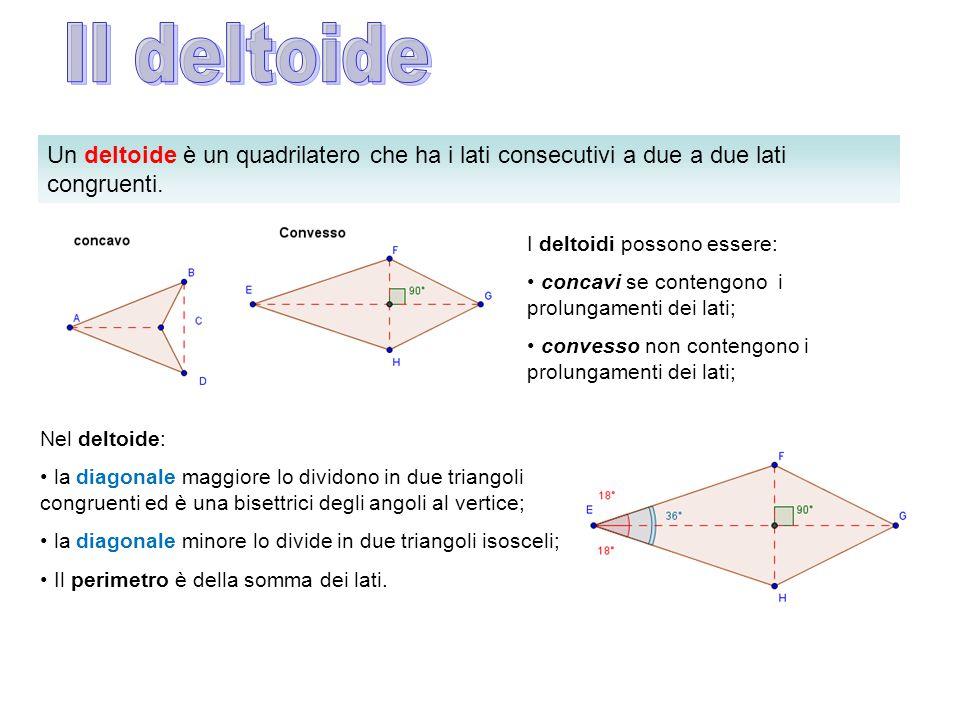 Il deltoide Un deltoide è un quadrilatero che ha i lati consecutivi a due a due lati congruenti. I deltoidi possono essere: