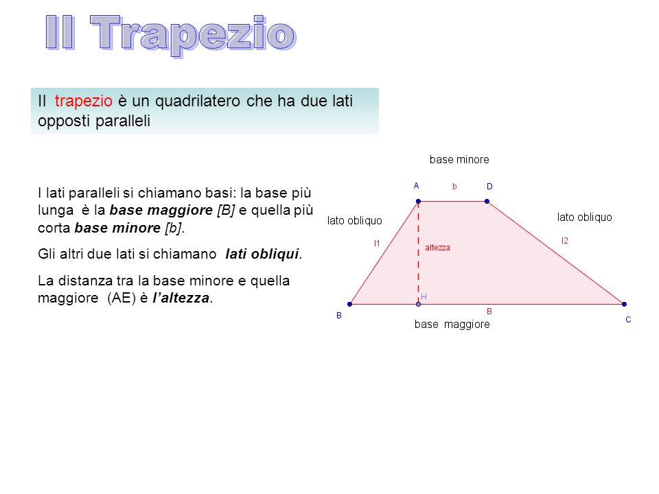 Il Trapezio Il trapezio è un quadrilatero che ha due lati opposti paralleli.