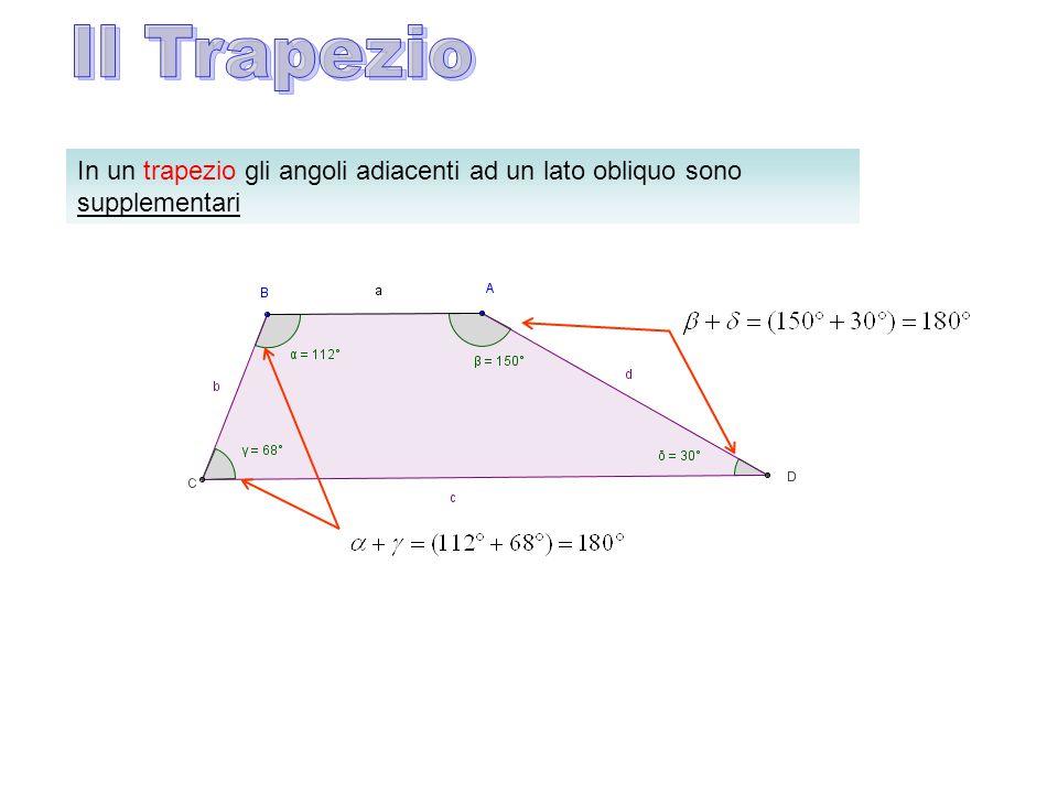 Il Trapezio In un trapezio gli angoli adiacenti ad un lato obliquo sono supplementari
