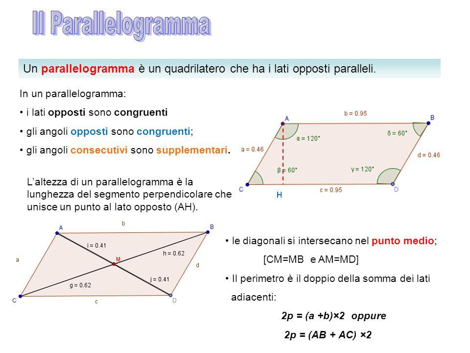 Il Parallelogramma Un parallelogramma è un quadrilatero che ha i lati opposti paralleli. In un parallelogramma: