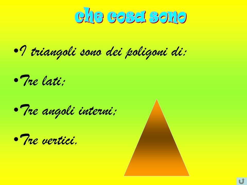 I triangoli sono dei poligoni di: Tre lati; Tre angoli interni;