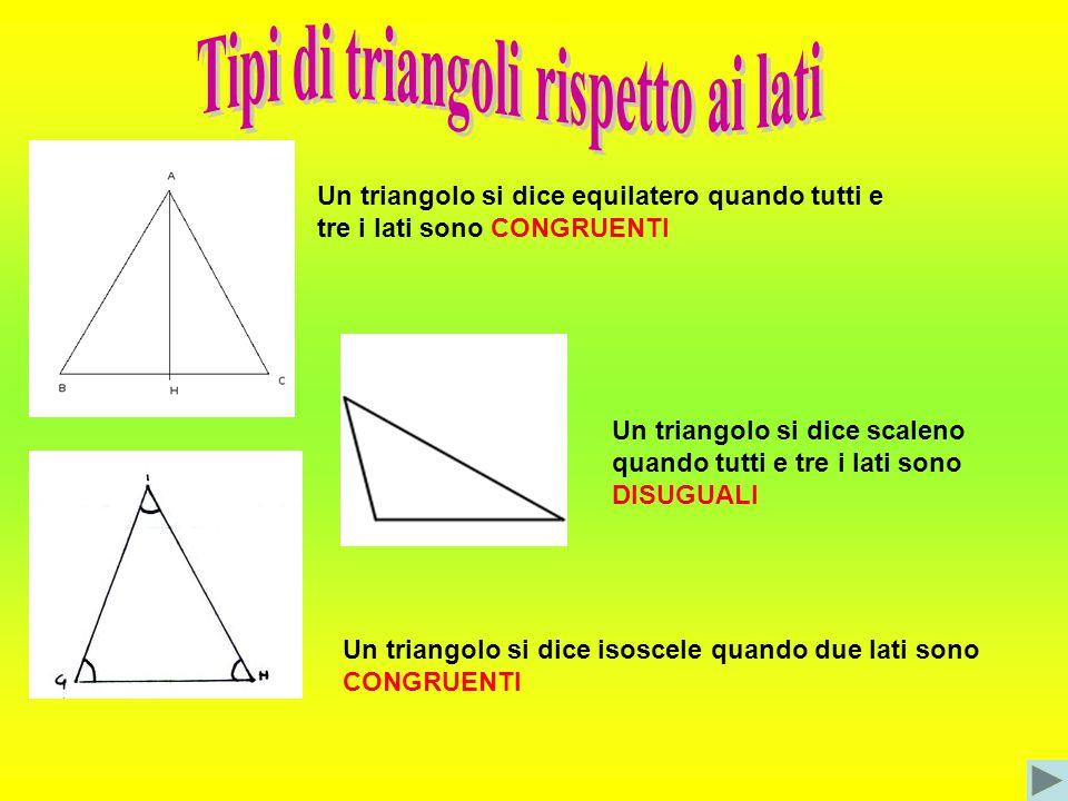 Tipi di triangoli rispetto ai lati