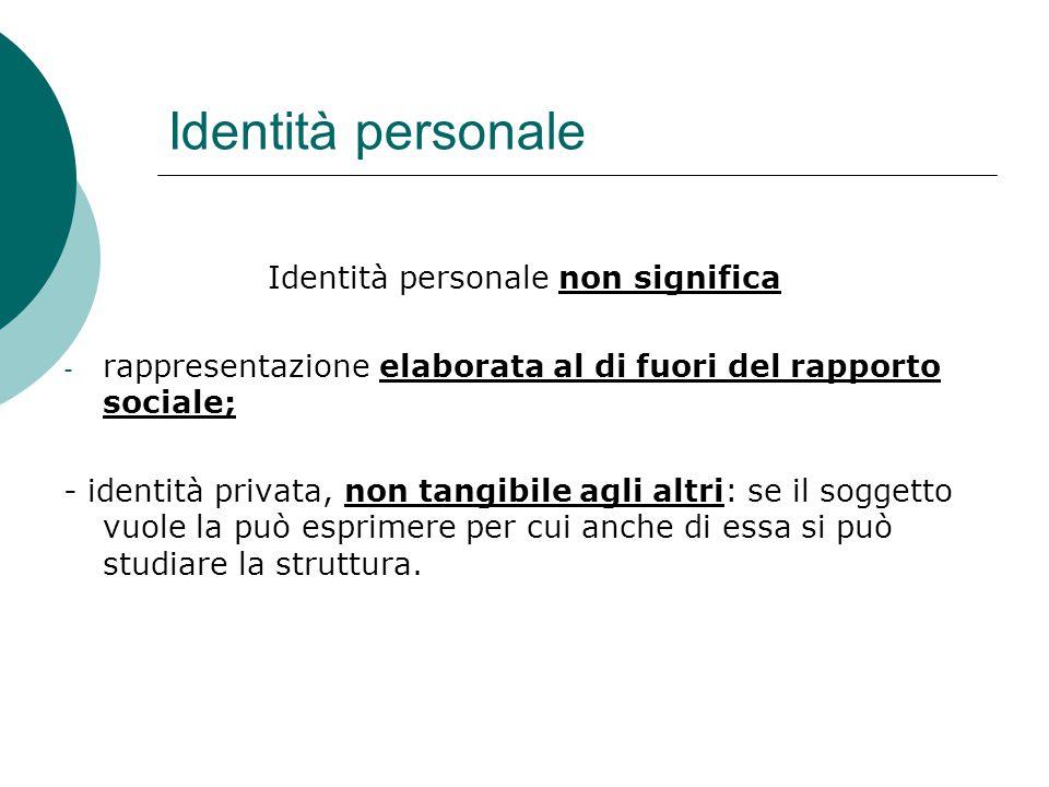 Identità personale non significa