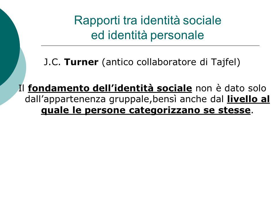 Rapporti tra identità sociale ed identità personale