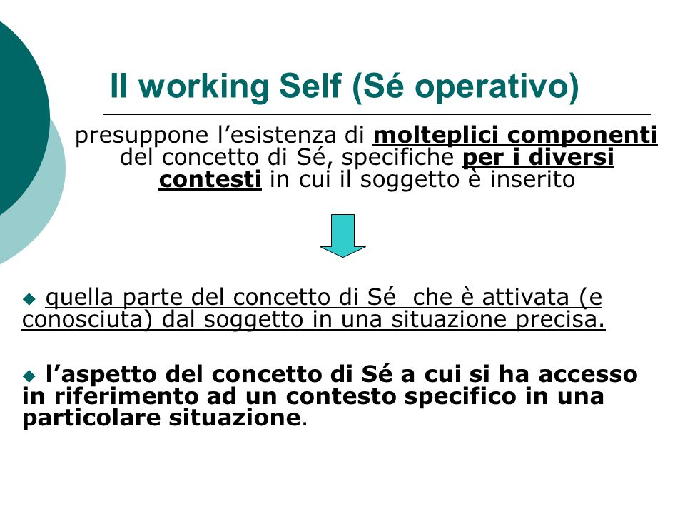 Il working Self (Sé operativo)