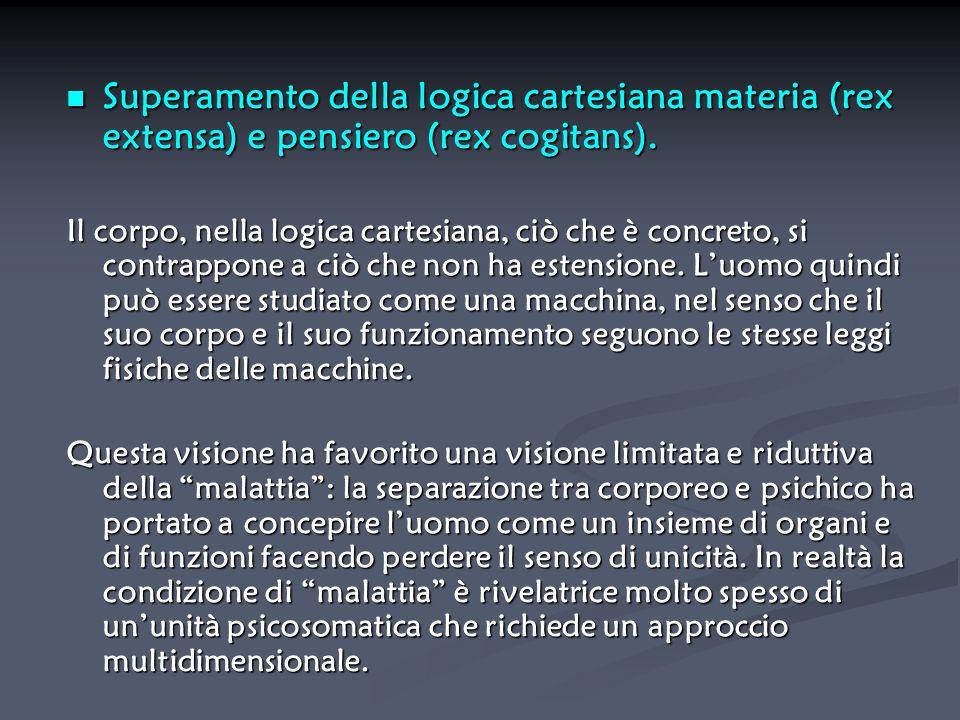 Superamento della logica cartesiana materia (rex extensa) e pensiero (rex cogitans).