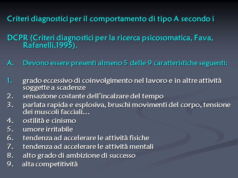 Criteri diagnostici per il comportamento di tipo A secondo i
