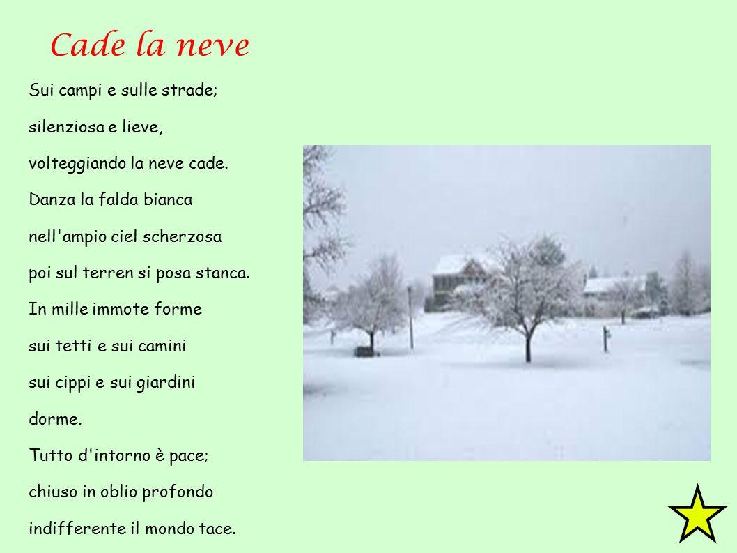 Cade la neve Sui campi e sulle strade; silenziosa e lieve,
