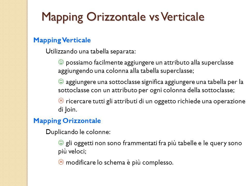 Mapping Orizzontale vs Verticale