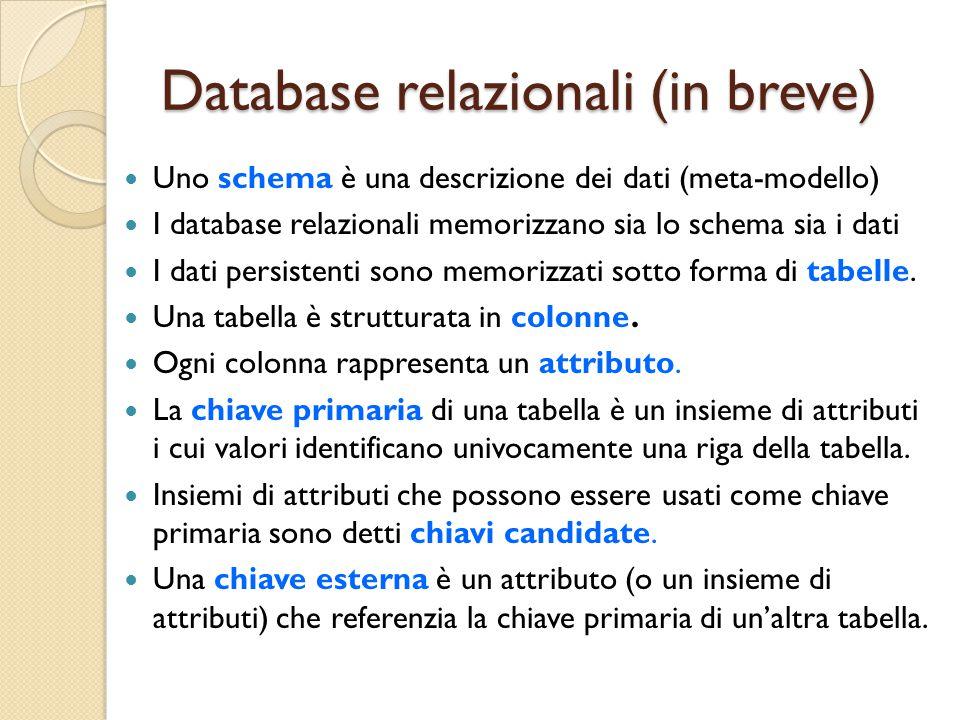 Database relazionali (in breve)