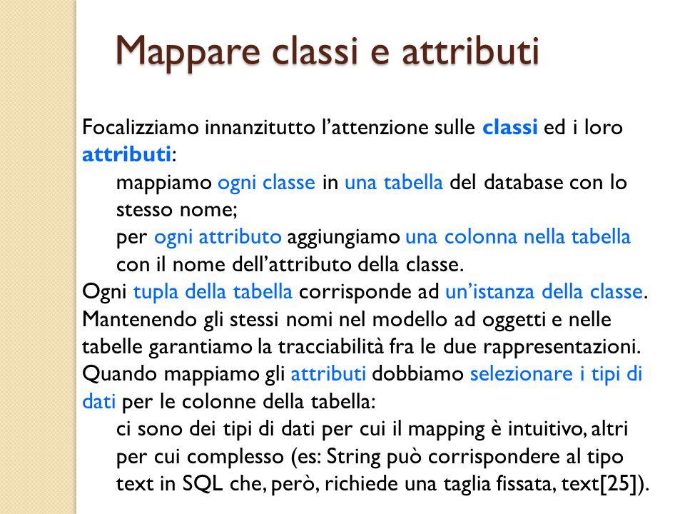 Mappare classi e attributi