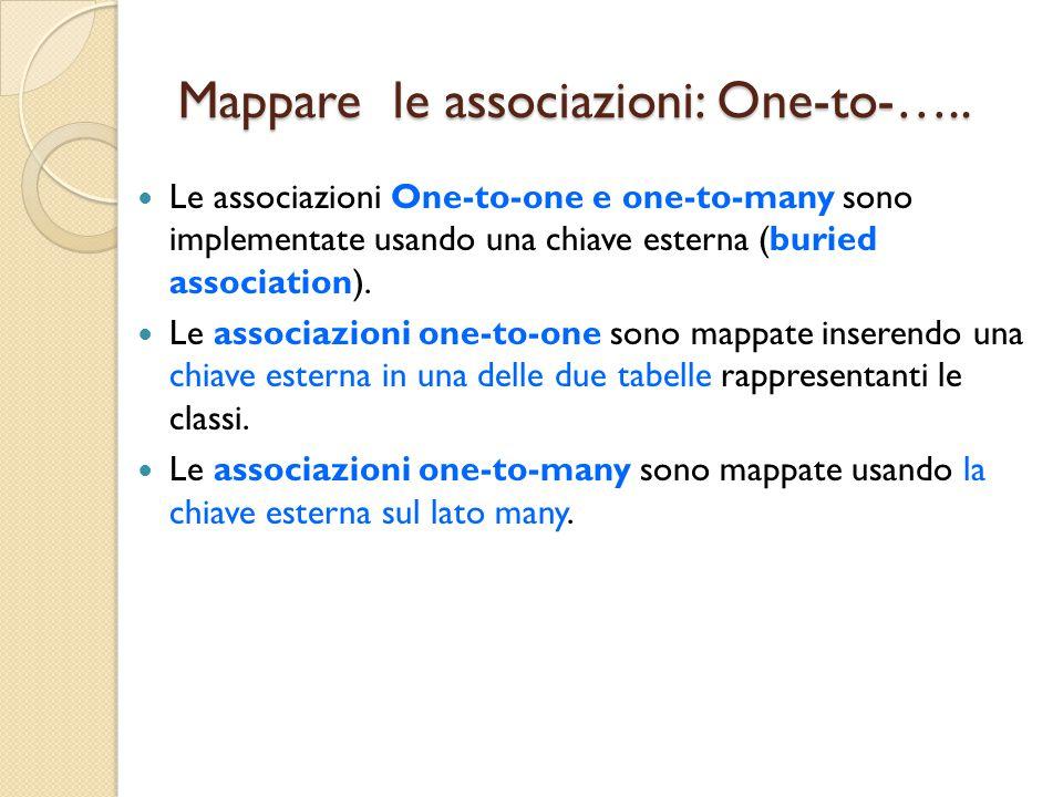 Mappare le associazioni: One-to-…..