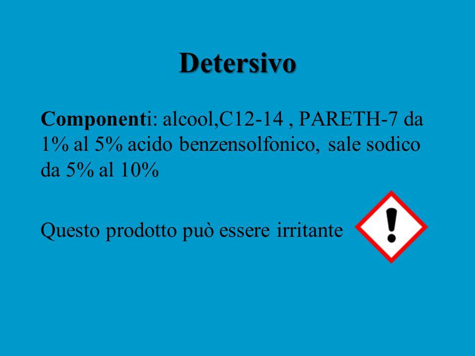 Detersivo Componenti: alcool,C12-14 , PARETH-7 da 1% al 5% acido benzensolfonico, sale sodico da 5% al 10%