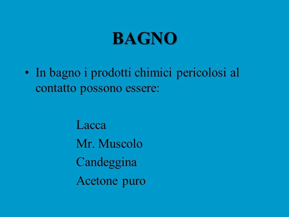 BAGNO In bagno i prodotti chimici pericolosi al contatto possono essere: Lacca. Mr. Muscolo. Candeggina.