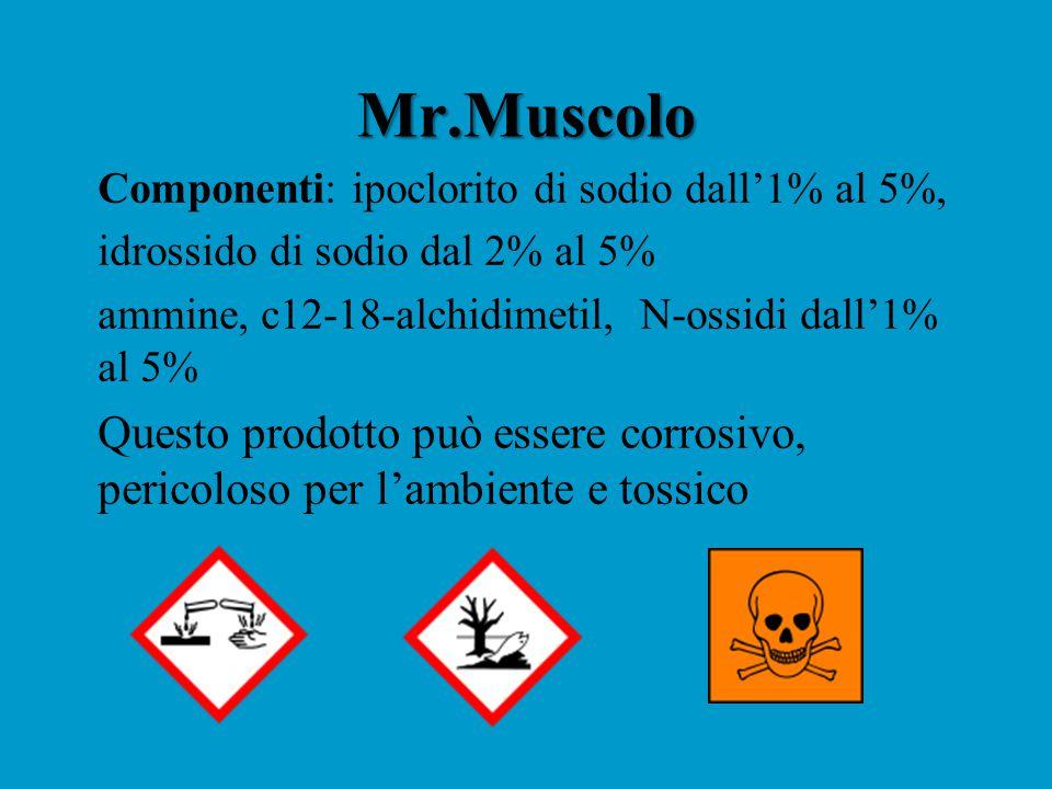 Mr.Muscolo Componenti: ipoclorito di sodio dall'1% al 5%, idrossido di sodio dal 2% al 5% ammine, c12-18-alchidimetil, N-ossidi dall'1% al 5%