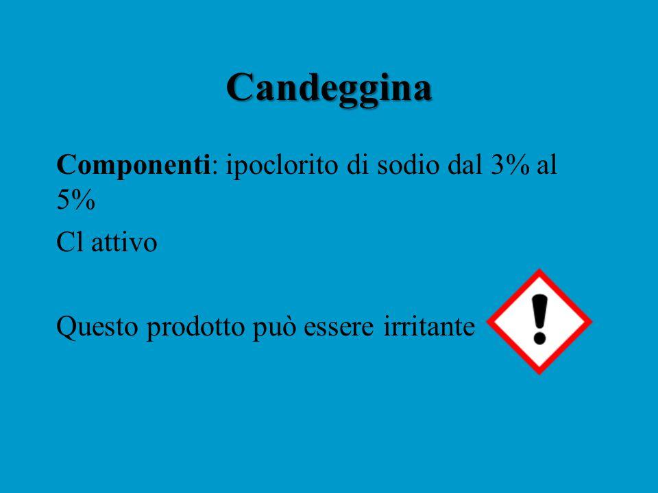 Candeggina Componenti: ipoclorito di sodio dal 3% al 5% Cl attivo