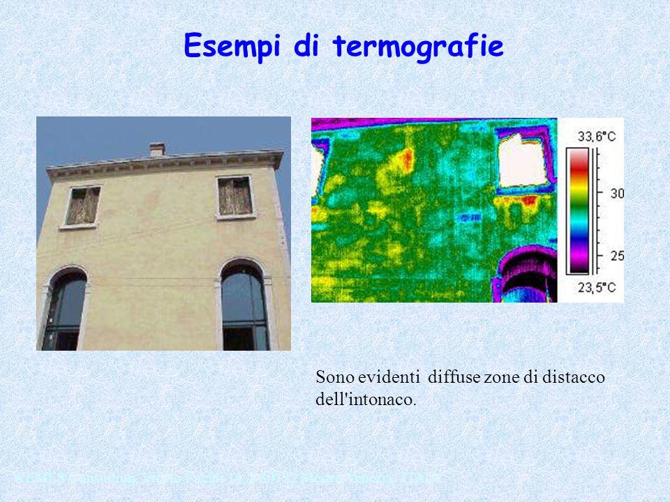 Esempi di termografie Sono evidenti diffuse zone di distacco dell intonaco.