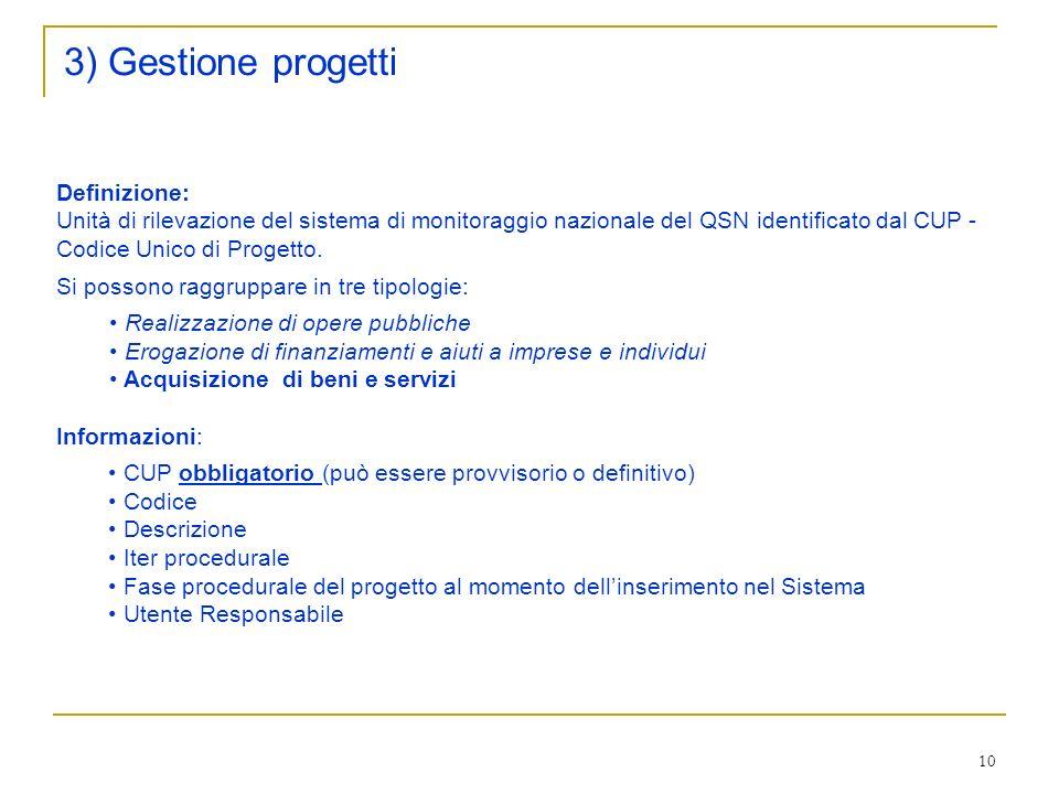 3) Gestione progetti Definizione: