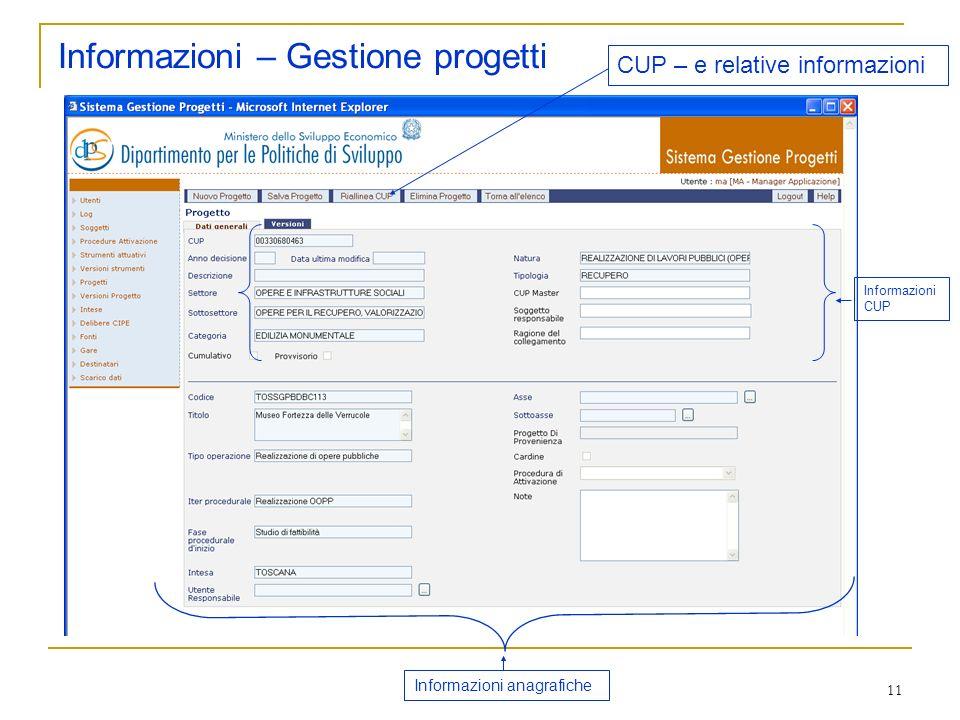 Informazioni – Gestione progetti
