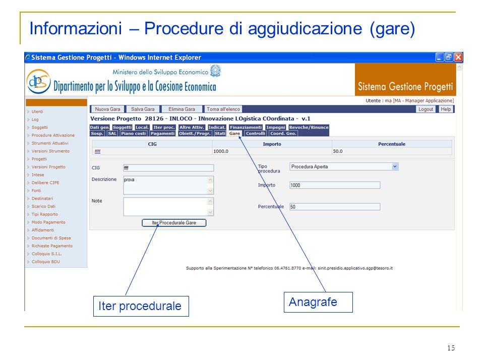 Informazioni – Procedure di aggiudicazione (gare)