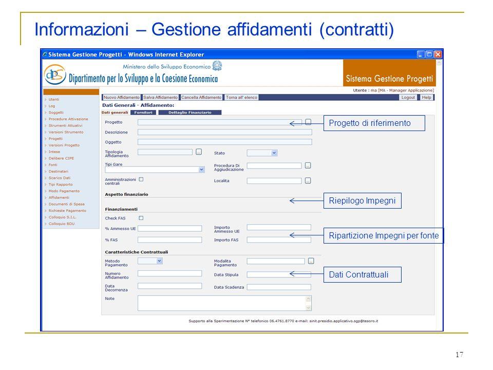 Informazioni – Gestione affidamenti (contratti)
