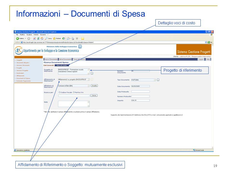 Informazioni – Documenti di Spesa