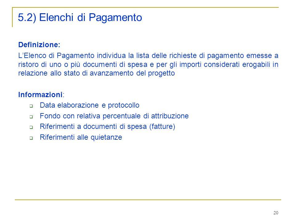 5.2) Elenchi di Pagamento Definizione: