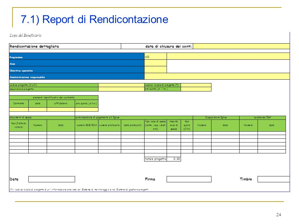 7.1) Report di Rendicontazione