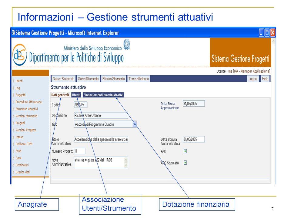 Informazioni – Gestione strumenti attuativi