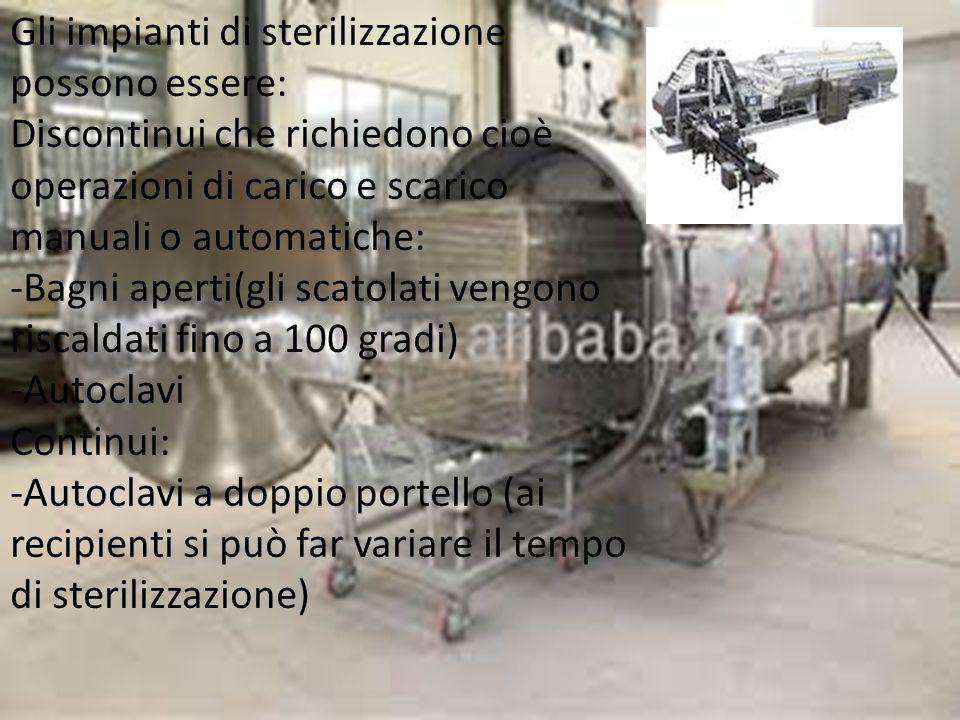 Gli impianti di sterilizzazione possono essere: