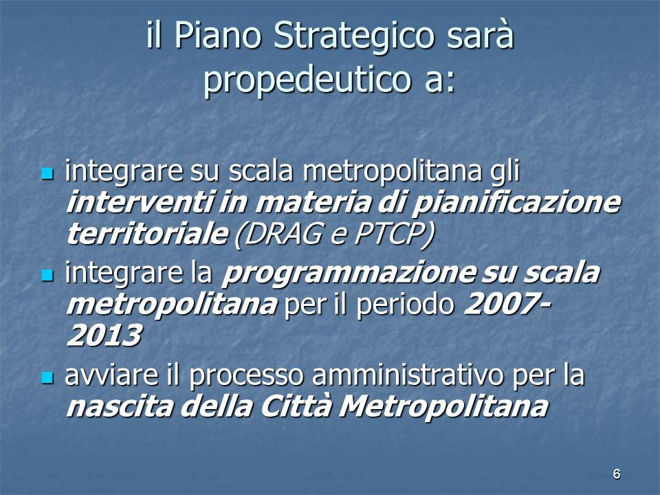 il Piano Strategico sarà propedeutico a: