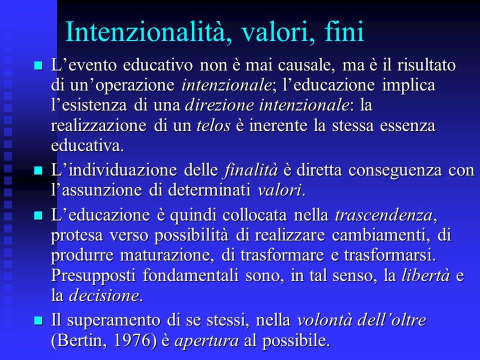 Intenzionalità, valori, fini