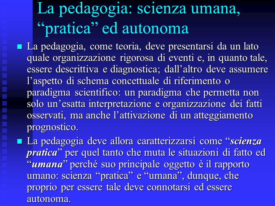 La pedagogia: scienza umana, pratica ed autonoma
