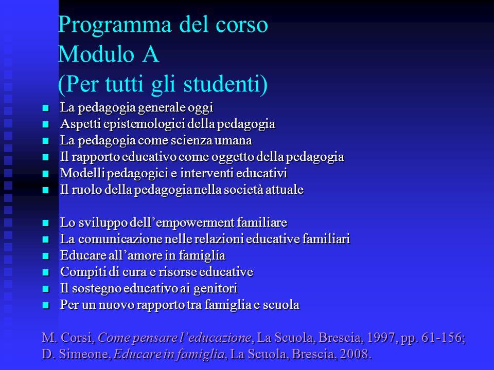 Programma del corso Modulo A (Per tutti gli studenti)