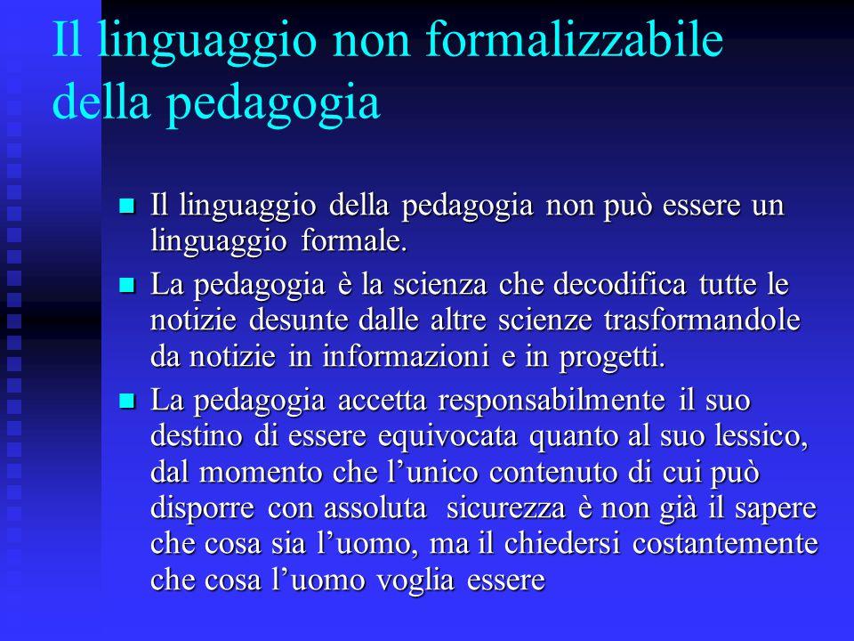 Il linguaggio non formalizzabile della pedagogia