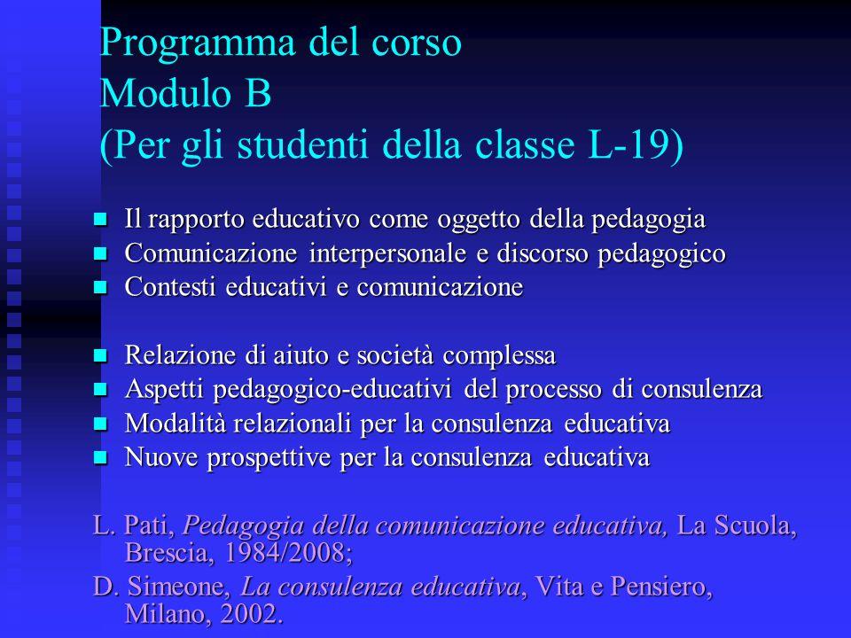Programma del corso Modulo B (Per gli studenti della classe L-19)