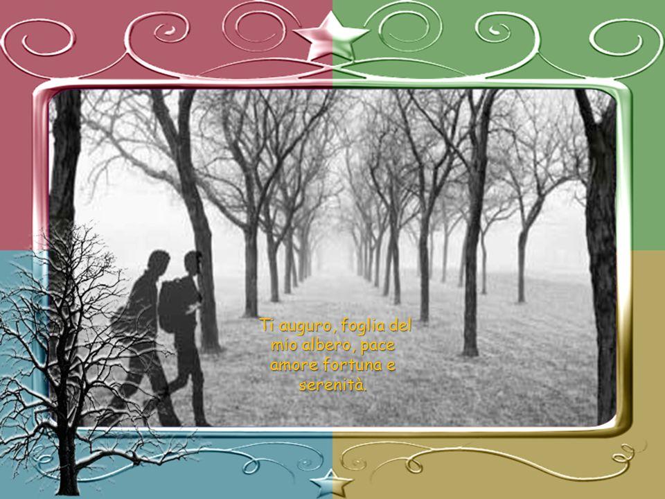 Ti auguro, foglia del mio albero, pace amore fortuna e serenità.