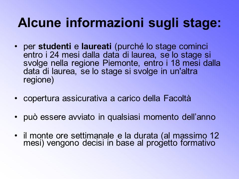Alcune informazioni sugli stage: