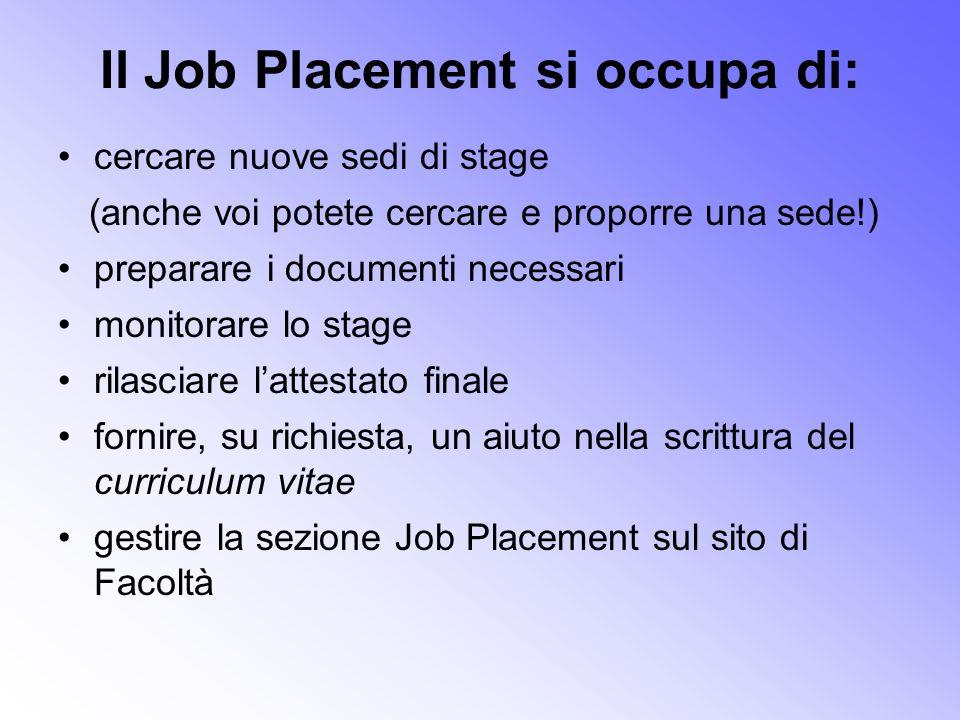 Il Job Placement si occupa di: