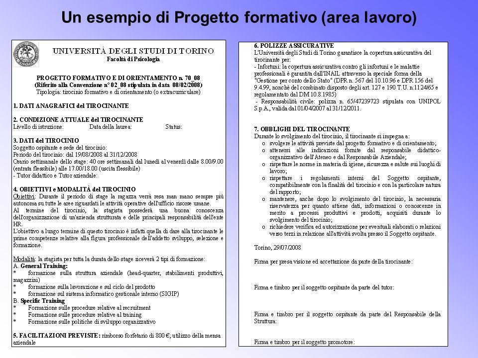 Un esempio di Progetto formativo (area lavoro)